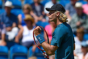 Denis Shapovalov of Canada fist pumps after winning the first set during the Nature Valley International at Devonshire Park, Eastbourne, United Kingdom on 27 June 2018. Picture by Martin Cole.