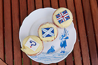 A typical plate of Scottish piper play on the loch full of cupcakes. <br /> Cupcakes referendum photocall to take place. Cuckoo's bakery has been selling Yes, No and undecided cupcakes since March .<br /> Pako Mera/Universal News And Sport (Europe) 17/09/2014