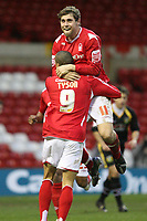 Photo: Pete Lorence.<br />Nottingham Forest v Yeovil Town. Coca Cola League 1. 13/01/2007.<br />Grant Holt celebrates taking Nottingham into the lead with Nathan Tyson.