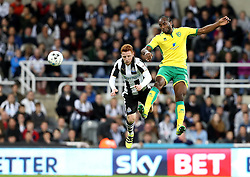 Jack Colback of Newcastle United and Cameron Jerome of Norwich City challenge for a header - Mandatory by-line: Robbie Stephenson/JMP - 28/09/2016 - FOOTBALL - St James Park - Newcastle upon Tyne, England - Newcastle United v Norwich City - Sky Bet Championship