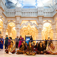 Hindu devotees pay their tributes and pray during the celebrations of  Swaminarayan Jayanti at Neasden Temple in London, to mark the manifestation on earth of Bhagwan Swaminarayan in 1781.