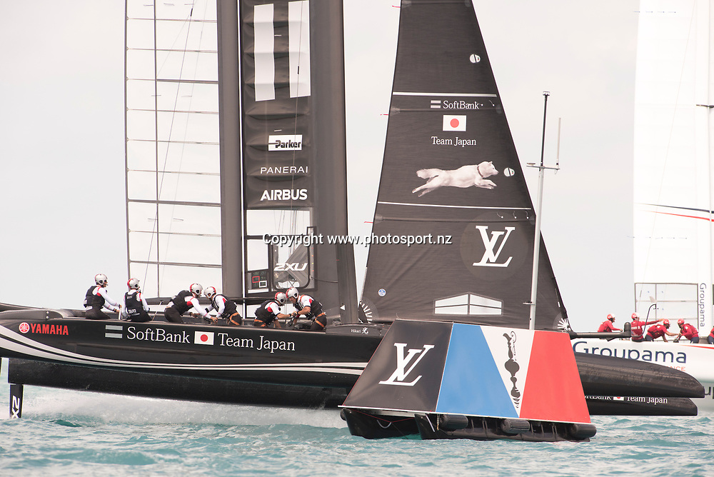 Soft Bank Team Japan  approach the start line at full speed in their race 15 match against Groupama Team France. Day three of the America's Cup Qualifiers, Bermuda 29/5/2017 . Copyright Image: Chris Cameron / www.photosport.nz