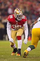 12 January 2013: Linebacker (99) Aldon Smith of the San Francisco 49ers lines up against the Green Bay Packers during the first half of the 49ers 45-31 victory over the Packers in an NFL Divisional Playoff Game at Candlestick Park in San Francisco, CA.