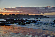View of Nobbys Beach at sunset, Port Macquarie, NSW, Australia.