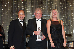 CARDIFF, WALES - Monday, October 8, 2012: Wales' Ffrangcon Roberts receives the service award from Chief-Executive Jonathan Ford and ATPI's Shelley Matthews during the FAW Player of the Year Awards Dinner at the National Museum Cardiff. (Pic by David Rawcliffe/Propaganda)