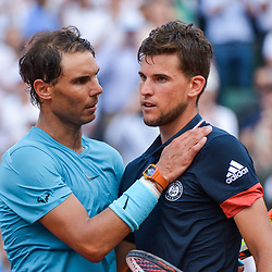 Rafael Nadal of Spain and Dominic Thiem of Austria during Day 15 for the French Open 2018 on June 10, 2018 in Paris, France. (Photo by Baptiste Fernandez/Icon Sport)