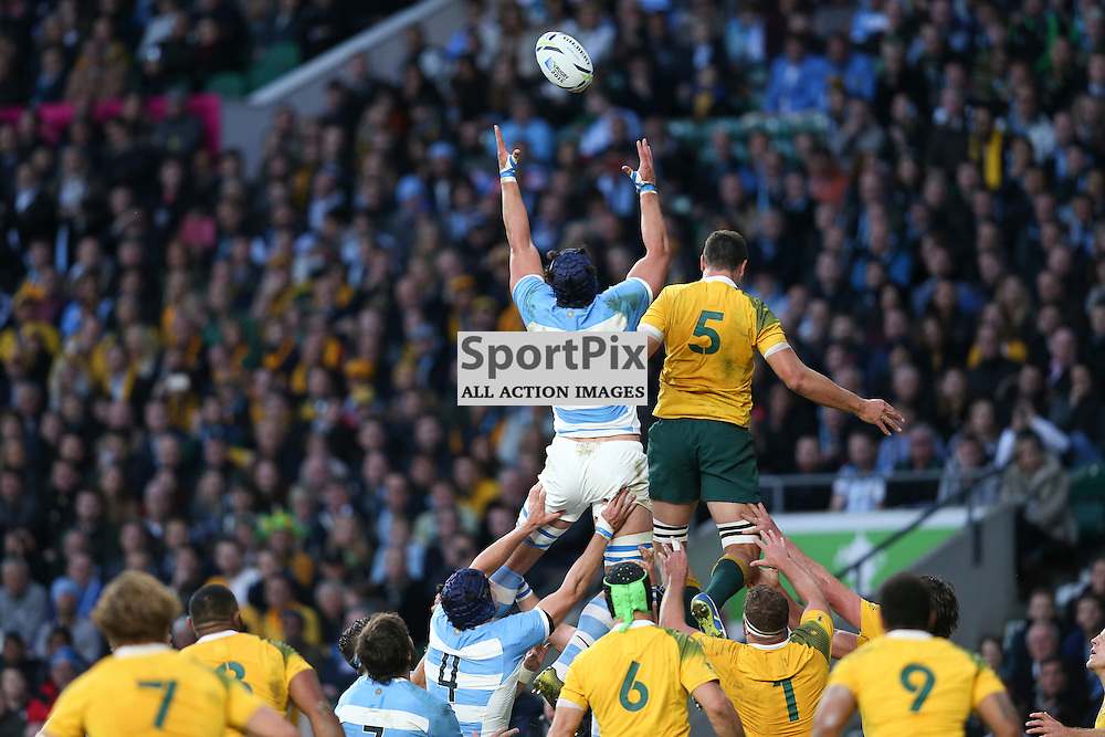 TWICKENHAM, ENGLAND - OCTOBER 25: line out argentina during the 2015 Rugby World Cup semi-final two match between Argentina and Australia at Twickenham Stadium, London on October 25, 2015 in London, England. (Credit: SAM TODD | SportPix.org.uk)