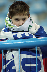 A Slovenian young fan after the UEFA Friendly match between national teams of Slovenia and Denmark at the Stadium on February 6, 2008 in Nova Gorica, Slovenia.  Slovenia lost 2:1. (Photo by Vid Ponikvar / Sportal Images).