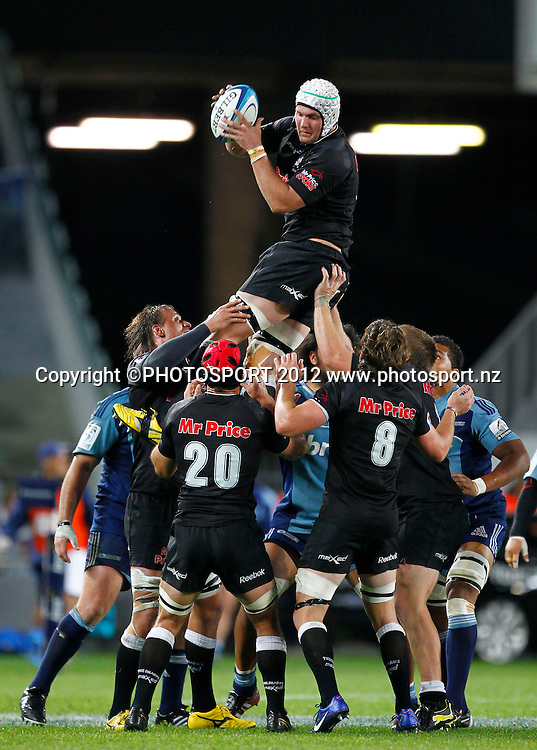 Steven Skyes of the Sharks wins a lineout during the Super Rugby game between The Blues and The Sharks at Eden Park, Auckland New Zealand, Friday 13 April 2012. Photo: Simon Watts / photosport.co.nz