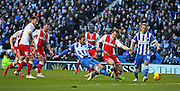 Brighton's Inigo Calderon scores the 4th goal during the Sky Bet Championship match between Brighton and Hove Albion and Birmingham City at the American Express Community Stadium, Brighton and Hove, England on 21 February 2015. Photo by Phil Duncan.