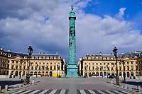 France, Paris (75), Place Vendôme durant le confinement du Covid 19 // France, Paris, Vendôme square during the containment of Covid 19