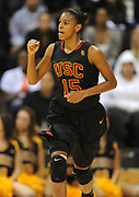 Dec 3, 2009; Long Beach, CA, USA; Southern California Trojans guard Briana Gilbreath (15) reacts after making a 3-point basket against the Long Beach State 49ers at the Walter Pyramid. USC defeated Long Beach State 83-77.