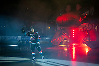 KELOWNA, CANADA - SEPTEMBER 22:  Conner Bruggen-Cate #20 of the Kelowna Rockets enters the ice against the Kamloops Blazers on September 22, 2018 at Prospera Place in Kelowna, British Columbia, Canada.  (Photo by Marissa Baecker/Shoot the Breeze)  *** Local Caption ***