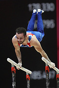 James Hall (Great Britain) the Parallel bars competition during the presentation of the teams during the European Championships Glasgow 2018, Team Men Final at The SSE Hydro in Glasgow, Great Britain, Day 10, on August 11, 2018 - Photo Laurent Lairys / ProSportsImages / DPPI