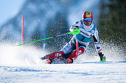 Marcel Hirscher of Austria in action during the first run of the slalom FIS World Cup race in Adelboden, Switzerland, 12 January 2014.