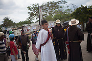 Kevin Barrientos, 16, originary from Zacapa, Guatemala, represents Jesus Christ in the representation on the Migrants Viacrucis in the streets  Tenosique, Tabasco, on March 29th 2013.  In the walk, that started in La Palma (32 km away from Tenosique), a hundred of migrants and human rights defenders walked demanding end on extortions. (Photo: Prometeo Lucero)
