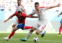 SAMARA, June 17, 2018  Marco Urena (L front) of Costa Rica vies with Nikola Milenkovic of Serbia during a group E match between Costa Rica and Serbia at the 2018 FIFA World Cup in Samara, Russia, June 17, 2018. (Credit Image: © Ye Pingfan/Xinhua via ZUMA Wire)