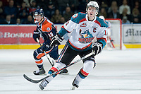 KELOWNA, CANADA, JANUARY 25: Colton Sissons #15 of the Kelowna Rockets skates on the ice as the Kamloops Blazers visit the Kelowna Rockets on January 25, 2012 at Prospera Place in Kelowna, British Columbia, Canada (Photo by Marissa Baecker/Getty Images) *** Local Caption ***