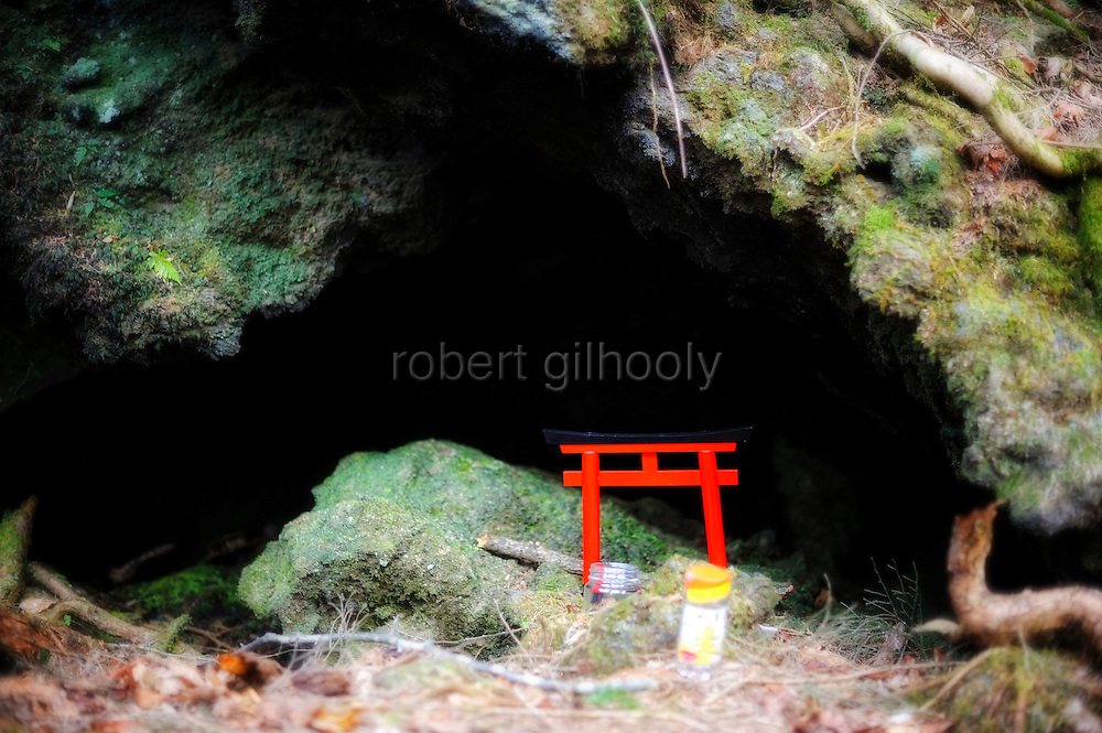 A miniature torii gate is placed with glasses of rice wine to commemorate someone who committed suicide in Aokigahara Jukai, better known as the Mt. Fuji suicide forest, which is located at the base of Japan's famed mountain west of Tokyo, Japan. ..