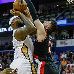 Mar 14, 2017; New Orleans, LA, USA; New Orleans Pelicans forward DeMarcus Cousins (0) shoots over Portland Trail Blazers center Jusuf Nurkic (27) during the first quarter of a game at the Smoothie King Center. Mandatory Credit: Derick E. Hingle-USA TODAY Sports