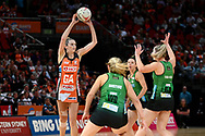 SYDNEY, AUSTRALIA - AUGUST 24: Jo Harten of the Giants looks to pass the ball during the round 14 Super Netball match between the Giants and the West Coast Fever at Qudos Bank Arena on August 24, 2019 in Sydney, Australia.(Photo by Speed Media/Icon Sportswire)