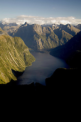 Fiordland National Park:  Aerial view of Milford Sound.