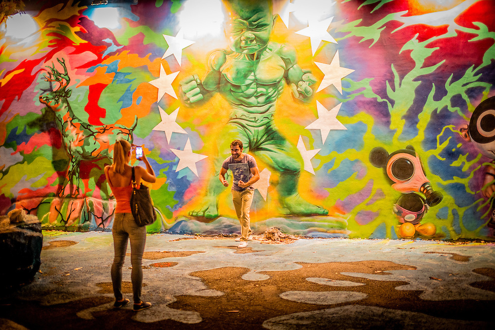 At Miami's Wynwood Walls, an irresistable pose with the Baby Hulk