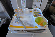 Breakfast served during a Lufthansa flight from Tel Aviv to Frankfurt