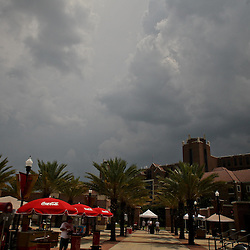 June 04, 2011; Tallahassee, FL, USA; Severe weather approaches the area leading to the suspension of play in the eighth inning of the Tallahassee regional of the 2011 NCAA baseball tournament with UCF Knights leading the Bethune-Cookman Wildcats 14-5 at Dick Howser Stadium. Mandatory Credit: Derick E. Hingle