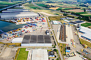 Nederland, Limburg, Gemeente Sittard-Geleen, 26-06-2014; Terminal Born, overslaghaven. Bedrijventerrein Holtum.<br /> luchtfoto (toeslag op standaard tarieven);<br /> aerial photo (additional fee required);<br /> copyright foto/photo Siebe Swart.