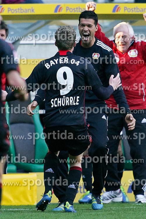 15.10.2011,  BorussiaPark, Mönchengladbach, GER, 1.FBL, Borussia Mönchengladbach vs Bayer 04 Leverkusen, im Bild.Torjubel / Jubel  nach dem 2:2 zwischen Andre Schürrle (Leverkusen #9) (L) und Michael Ballack (Leverkusen #13) (R) ..// during the 1.FBL, Borussia Mönchengladbach vs Bayer 04 Leverkusen on 2011/10/13, BorussiaPark, Mönchengladbach, Germany. EXPA Pictures © 2011, PhotoCredit: EXPA/ nph/  Mueller *** Local Caption ***       ****** out of GER / CRO  / BEL ******