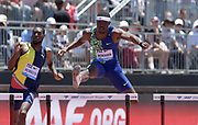 Jun 30, 2019; Stanford, CA, USA; Rai Benjamin (USA) wins the 400m hurdles in 47.16 during the 45th Prefontaine Classic at Cobb Track & Angell Field.