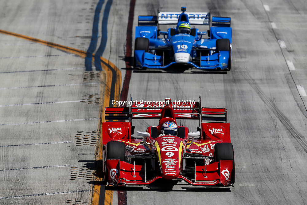 15-17 April, 2016, Long Beach, California<br /> , 9, Scott Dixon, 10, Tony Kanaan<br /> &copy;2016, Michael L. Levitt<br /> LAT Photo USA