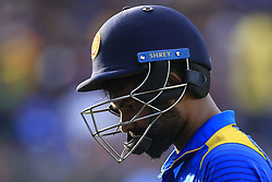 August 27, 2017 - Kandy, Sri Lanka - Sri Lankan cricketer Lahiru Thirimanne reacts after his dismissal during the 3rd One Day International cricket match between Sri Lanka and India at the Pallekele international cricket stadium at Kandy, Sri Lanka on Sunday 27 August 2017. (Credit Image: © Tharaka Basnayaka/NurPhoto via ZUMA Press)