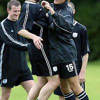 St Johnstone training...12.07.04<br />Lee Hardy (right) messing about with Kevin Rutkiewicz<br /><br />Picture by Graeme Hart.<br />Copyright Perthshire Picture Agency<br />Tel: 01738 623350  Mobile: 07990 594431