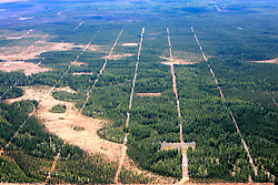 CANADA ALBERTA FORT MCMURRAY 10MAY07 - Aerial view of seismic lines near the Firebag SAG-D in-situ site operated by Suncor north of Fort McMurray, Alberta, Canada. The Alberta Tar Sands are the largest deposits of their kind in the world and their production is the single largest contributor to Canada's greenhouse gas emissions...Alberta's tar sands are currently estimated to contain a crude bitumen resource of 315 billion barrels, with remaining established reserves of almost 174 billion barrels, thus making Canada's oil resources ranked second largest in the world in terms of size...The industry has brought wealth and an economic boom to the region but also created an environmental disaster downstream from the Athabasca river, polluting the lakes where water and fish are contaminated. The native Indian tribes of the Mikisew, Cree, Dene and other smaller First Nations are seeing their natural habitat destroyed and are largely powerless to stop or slow down the rapid expansion of the oil sands development, Canada's number one economic driver...jre/Photo by Jiri Rezac / WWF-UK..© Jiri Rezac 2007..Contact: +44 (0) 7050 110 417.Mobile: +44 (0) 7801 337 683.Office: +44 (0) 20 8968 9635..Email: jiri@jirirezac.com.Web: www.jirirezac.com..© All images Jiri Rezac 2007 - All rights reserved.