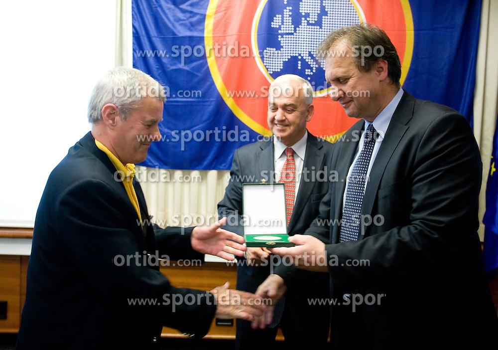 Award Plaketa NZS for year 2009 of Slovenian football federation (NZS) for Hinko Petric of MNZ Maribor (L) given by president of NZS Ivan Simic, on May 7, 2009, in Hotel Kokra, Brdo at Kranj, Slovenia.  (Photo by Vid Ponikvar / Sportida)