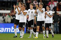 GER, Commerzbank Arena, GER, Stuttgart, FSP, LS, Deutschland (GER) vs Brasilien (BRA), im Bild .. Holger Badstuber (GER/FC Bayern München) , Philipp Lahm (GER/FC Bayern München) , Toni Kroos (GER/FC Bayern München) , Thomas Müller (GER/FC Bayern München) und Christian Träsch (GER/VFL Wolfsburg) nach dem Spiel // durch the friendly ship between Germany (GER) vs Brasil (BRA) in Commerzbank Arena, Stuttgart, on 2011/08/11 EXPA Pictures © 2011, PhotoCredit: EXPA/ nph/  Hessland       ****** out of GER / CRO  / BEL ******