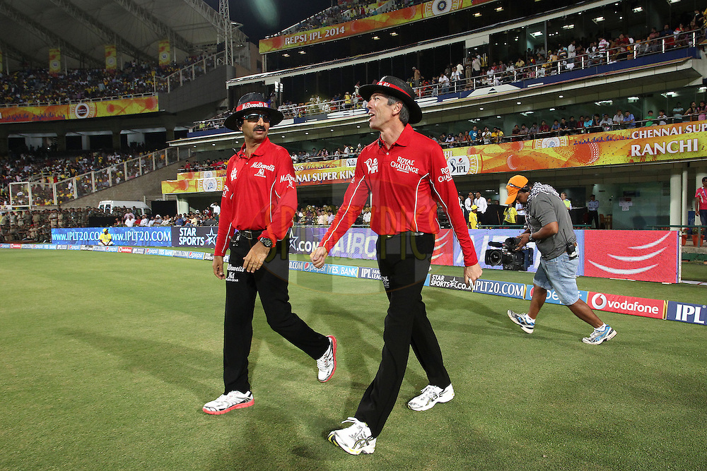 Umpires Anil Chaudhary and Nigel Llong walk out at the start during match 21 of the Pepsi Indian Premier League Season 2014 between the Chennai Superkings and the Kolkata Knight Riders  held at the JSCA International Cricket Stadium, Ranch, India on the 2nd May  2014<br /> <br /> Photo by Shaun Roy / IPL / SPORTZPICS<br /> <br /> <br /> <br /> Image use subject to terms and conditions which can be found here:  http://sportzpics.photoshelter.com/gallery/Pepsi-IPL-Image-terms-and-conditions/G00004VW1IVJ.gB0/C0000TScjhBM6ikg