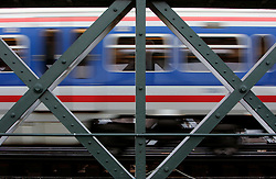 UK ENGLAND LONDON 27JAN06 - A passenger train leaves Charing Cross station in central London via a structural steel bridge across the Thames River...jre/Photo by Jiri Rezac..© Jiri Rezac 2006..Contact: +44 (0) 7050 110 417.Mobile:  +44 (0) 7801 337 683.Office:  +44 (0) 20 8968 9635..Email:   jiri@jirirezac.com.Web:    www.jirirezac.com