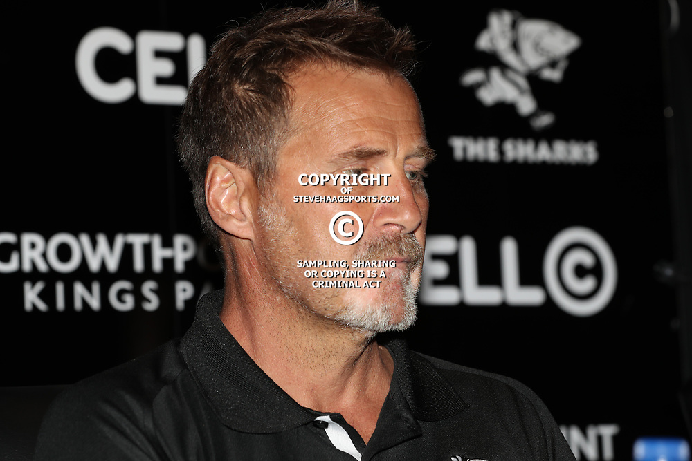 Robert du Preez (Head Coach) of the Cell C Sharks  during the Cell C Sharks press conference  during at Growthpoint Kings Park in Durban, South Africa. 11th May 2017(Photo by Steve Haag)<br /> <br /> images for social media must have consent from Steve Haag