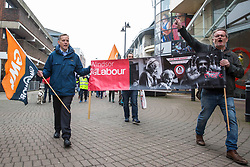 Maidenhead, UK. 23rd February, 2019. Matt Rodda, Labour MP for Reading East, joins members of the Windsor and Maidenhead branches of the Labour Party and UNISON and GMB trade unions at a protest in Prime Minister Theresa May's constituency against planned spending cuts of £6.8m to the 2019/2020 budget by the Royal Borough of Windsor and Maidenhead. Over 1,000 people had signed a petition to the council demanding an alternative to the cuts.