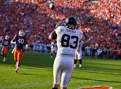 November 21, 2009; Clemson, SC, USA;  Virginia Cavaliers tight end Joe Torchia (83) makes a reception in the end zone against the Clemson Tigers during the second quarter at Memorial Stadium. Clemson defeated Virginia 34-21.