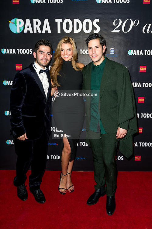 SANTA ANA, CA - OCT 10: Venezuelan model and actress Marjorie de Sousa poses with (L) Francis Bertrand editor of ParaTodos Magazine and former RBD Christian Chavez during  ParaTodos Magazine 20th Anniversary Gala at the Bower Museum on 10th of October, 2015 in Santa Ana, California. Byline, credit, TV usage, web usage or linkback must read SILVEXPHOTO.COM. Failure to byline correctly will incur double the agreed fee. Tel: +1 714 504 6870.