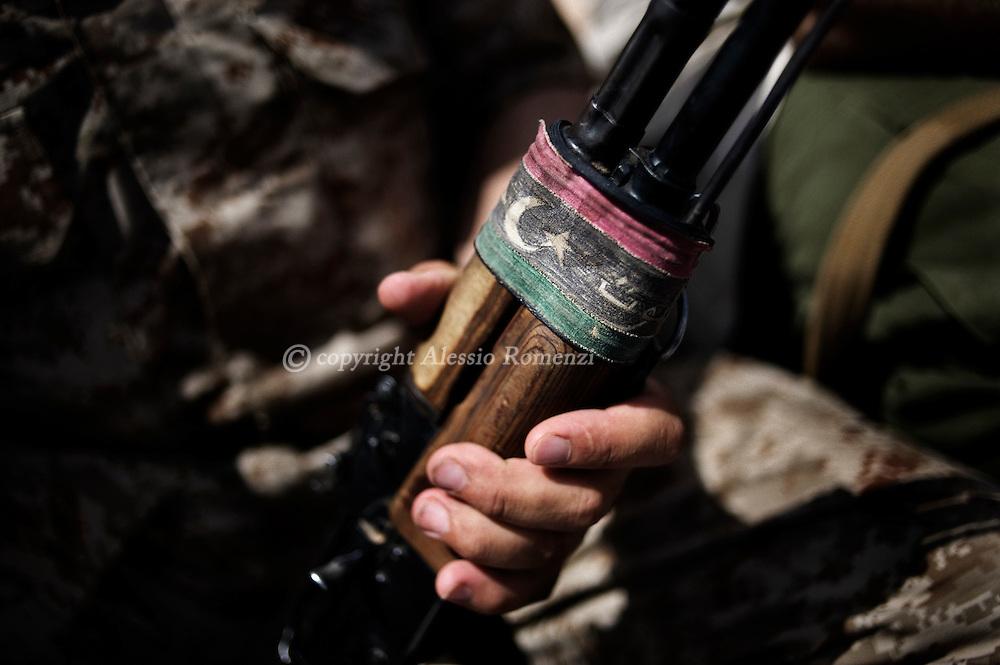LIBYAN ARAB JAMAHIRIYA, Gazaia : Particular of one of the rifle used by Libyan rebel fighters near the southwest village of Gazaia, on July 28, 2011.ALESSIO ROMENZI