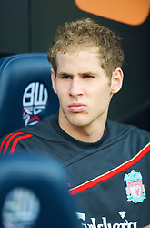 BOLTON, ENGLAND - Saturday, August 29, 2009: Liverpool's substitute goalkeeper Peter Gulacsi during the Premiership match at the Reebok Stadium. (Photo by David Rawcliffe/Propaganda)