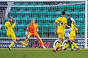 Vykintas Slivka (#8) of Hibernian FC scores a Hibs second goal during the William Hill Scottish Cup match between Hibernian FC and Raith Rovers FC at Easter Road Stadium, Edinburgh, Scotland on 9 February 2019.