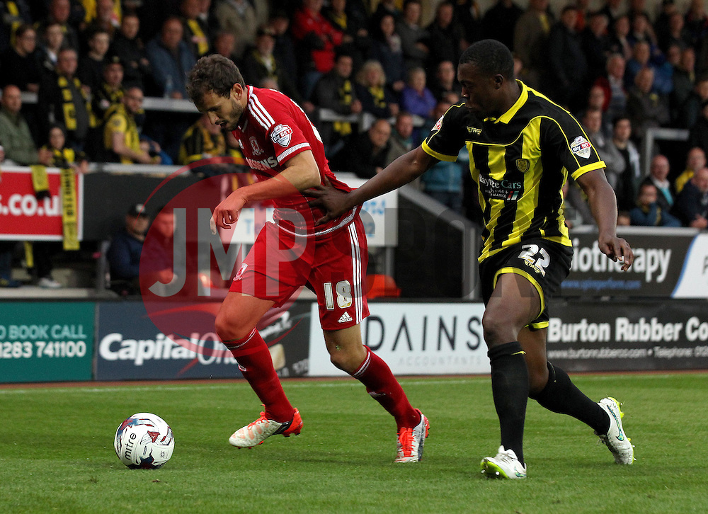 Christian Stuani of Middlesbrough takes on Jerome Binnom-Williams of Burton Albion - Mandatory byline: Robbie Stephenson/JMP - 07966386802 - 25/08/2015 - FOOTBALL - Pirelli Stadium -Burton,England - Burton Albion v Middlesbrough - Capital One Cup - Second Round