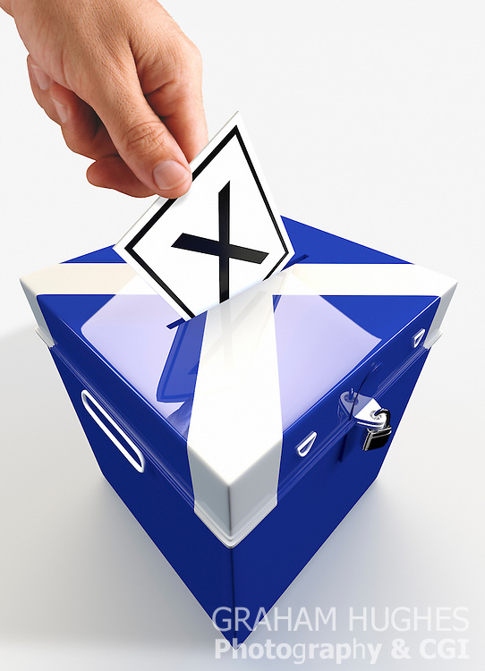 "Male hand placing ""X"" Voting slip in hole in lid of St Andrews Cross Ballot Box."