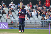 Lancashires Haseeb Hameed celebrates his 50 during the Royal London 1 Day Cup match between Lancashire County Cricket Club and Northamptonshire County Cricket Club at the Emirates, Old Trafford, Manchester, United Kingdom on 24 April 2019.